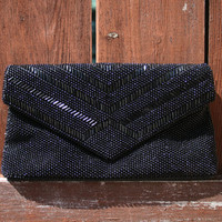 Vintage Beaded Clutch with Black Beads - Envelope Style Flap and Snap Closure
