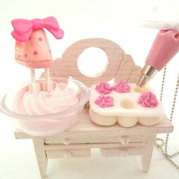 "The Bakers Necklace "" Who Ate My Cupcakes"" Miniature Cupcake Muffin Pan with fake cupcake frosting and and pink Pastry Bag charm"