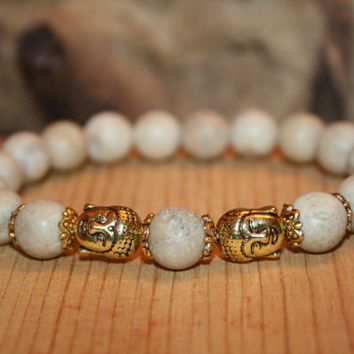 Jasper Buddha Bracelet, Mala Beads, Gifts for Him, Mantra Bracelet, Christmas Holiday Gift Idea, Yoga Jewelry, Spiritual, Man Gift, Mala