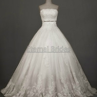 Strapless Elegant Lace Applique Tulle Ball Gown with Chapel Train