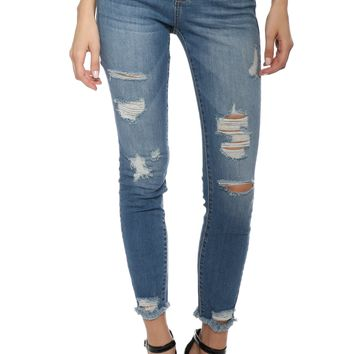 Hidden Distressed Cropped Skinny