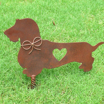 Wire Hair Dachshund Dog Metal Garden Stake - Metal Yard Art - Metal Garden Art - Pet Memorial