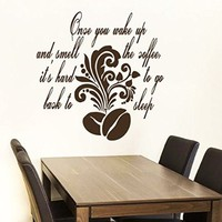 Wall Decals Quote Once You Wake Up Coffee Beans Tree Branch Decal Vinyl Sticker Family Bedroom Home Decor Interior Design Cafe Kitchen Ms414