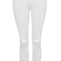 MOTO White Ripped Leigh Jeans - White