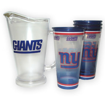 New York Giants NFL Tailgate Pitcher and Souvenir Cups Set