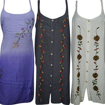 Mogul Interior Womens Shift Dress Embroidered Sleeveless Bohemian Summer Holiday Sundress Wholesale Lot Of 3