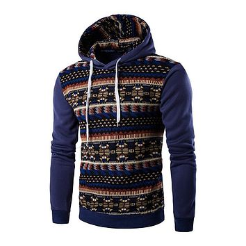 2016 New Fashion Autumn Fleece Hoodies Mens Streetwear Floral Printed Casual Pullover Hoody Man Tracksuits Sweatshirts A8888