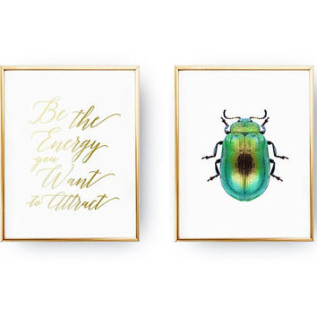 Set Of 2 Prints, Be The Energy You Want To Attract, Insect Art, Positive Energy, Typography Print, Beetle Poster, Home Decor,Gold Foil Print