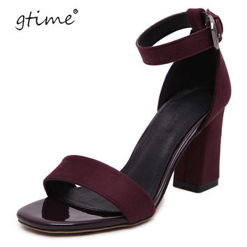 Gtime 2017 Women Sandals Strap Buckle Summer Shoes Woman Fashion High Heels Gladiator Sandals Women Sandalias ZWS197