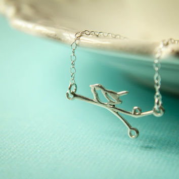 Openwork Wren on a Branch Necklace in Sterling Silver