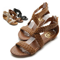 NEW Womens Shoes Cross Braided Strappy Gladiator Flat Sandals