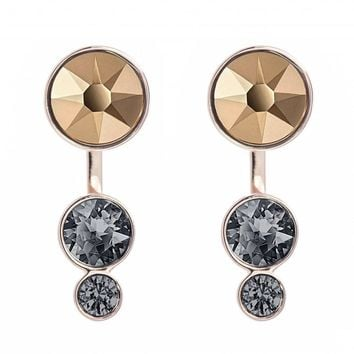 Swarovski Black Crystal Pierced Earrings SLAKE DOT Jackets Rose Gold #5241291