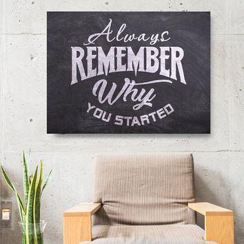 Always Remember Why You Started Framed Canvas Wall Art Motivational Wall Art