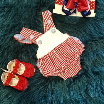 2018 Adorable White Blue And Red Infant Bubble