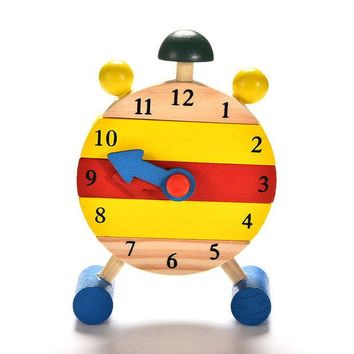 DCCKL72 Baby Kids Blocks Early Learning Building Educational Wooden Clock Toy Time Clock children's Educational Toys for boy and girl