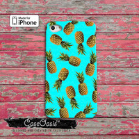 Pineapple Pattern Blue Cute Summer Tumblr Inspired Fruit Custom iPhone 4 and 4s Case and Custom iPhone 5 and 5s and 5c Case