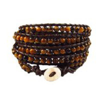 Brown Leather and Yellow Tiger Eye Jewelry | Chan Luu Style Wrap Bracelet