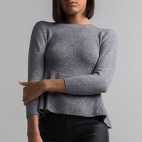 AKIRA Black Label Long Sleeve Soft Mid-weight Knit Peplum Crew Neck Sweater in Grey