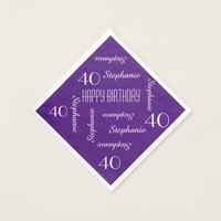 Paper Napkins, 40th Birthday Party Repeating Names Napkin