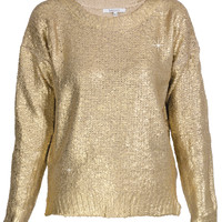 LUCY PARIS SIERA Metallic Gold Knitted Jumper - CLOTHING | TOPS | Blouses | PRET-A-BEAUTE.COM