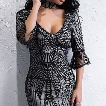 Starting Something Sequin Flare Elbow Sleeve V Neck Bodycon Mini Dress - 2 Colors Available