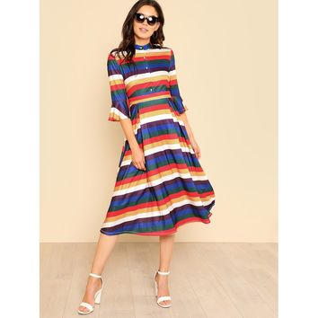 Multicolor Button Up Front Flounce Sleeve Striped Dress