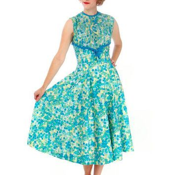 "Vintage Day Dress Blue/Green "" Cherries"" Cotton 1950s Ann Marsh Small"