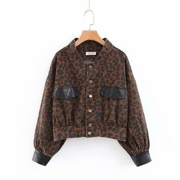 Trendy Autumn denim coats and jackets women long sleeve leopard jeans bomber jacket women PU leather patchwork casual outerwear AT_94_13
