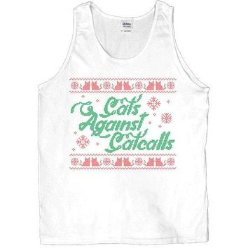 Cats Against Catcalls Cross-Stitch -- Unisex Tanktop