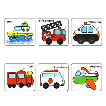 Baby Toys Double-side Fire Engine Car Ship Airplane Wooden Board Jigsaw Puzzle Training Developmental Educational Toy Kids