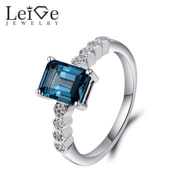 LEIGE JEWELRY LONDON BLUE TOPAZ RING EMERALD CUT ENGAGEMENT RINGS FOR WOMEN 925 STERLING SILVER JEWELRY BIRTHDAY GIFT