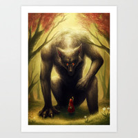 """Little Red and the BIG Bad Wolf"" Art Print by PeeGeeArts"