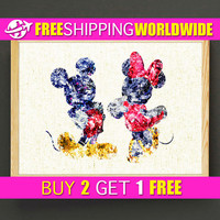 Mickey & Minnie Watercolor Art Print Disney Art Poster Gifts Idea Home Wall Decor Gift Linen Print - FERE SHIPPING - 410s2g
