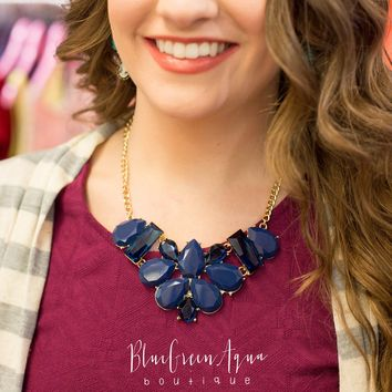 Navy Blossom Bib Necklace