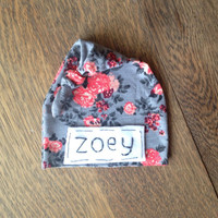 Newborn name hat- gray pink modern floral knit fabric- baby girl