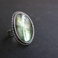 Large Sterling Silver Labradorite Ring - Oxidized Silver Ring - Gemstone Statement Ring - Patterned Ring - Size 7