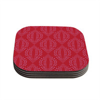 "Anneline Sophia ""Laurel Leaf Red"" Maroon Floral Coasters (Set of 4)"