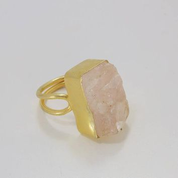 Handmade Ring, Rose Quartz Ring, Bezel Set Ring, Pink Stone Ring, Double Stack Ring, Mineral Ring, Rough Stone Jewelry, Gifts for girlfriend