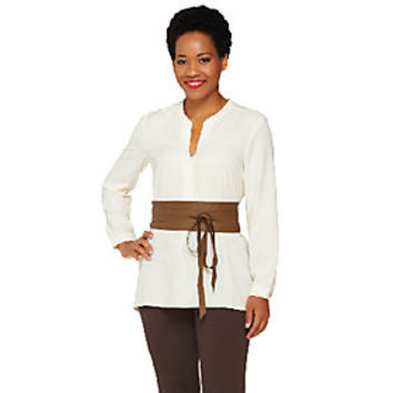 G.I.L.I Leather Obi Wrap Belt - A264009 — QVC.com