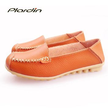 plardin 2017 Round Toe Genuine Leather Shoes Flat Shallow Women Shoes Ballet Flats Wo