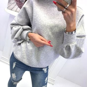 New Grey Cut Out Round Neck Long Sleeve Fashion Pullover Sweatshirt