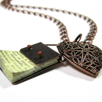 Vintage Style Antique Copper Heart Locket Necklace, Book, Pendant Necklace, Gifts for Readers, Gifts of Love, Filigree Heart, Boho, Romantic