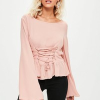 Missguided - Pink Corset Front Blouse