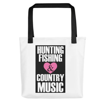 Hunting Fishing Country Music Fans Tote Bag