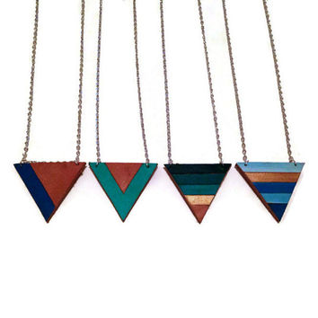 Turquoise and Gold color blocked triangle necklace, geometric necklace, leather triangle necklace