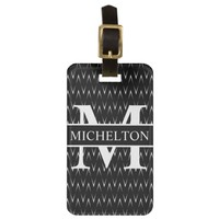 Faded Chevron Black Personalized Luggage Tag