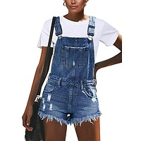 Ruffles Blue Short Denim Overalls