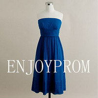 Sheath/Column Strapless Chiffon  Knee-Length Bridesmaid/Evening/Prom Dress