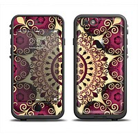 The Mirrored Gold & Purple Elegance Apple iPhone 6 LifeProof Fre Case Skin Set