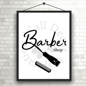 Barber shop | Trimmer | Comb | Silhouette | Hairstylist |  Inspiration Poster | Art Print | Printable Quote | Typography